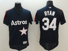 Mens Majestic Houston Astros #34 Nolan Ryan Navy Blue Flex Base Pullover Jersey