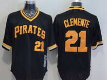 mens majestic pittsburgh pirates #21 roberto clemente black orange pullover Flex Base jersey