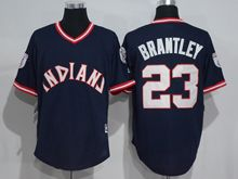Mens Mlb Cleveland Indians #23 Michael Brantley Navy Blue Pullover Throwbacks Jersey