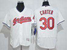 mens majestic cleveland indians #30 joe carter white throwbacks Flex Base jersey