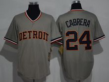 Mens Mlb Detroit Tigers #24 Miguel Cabrera Gray Throwbacks Jersey