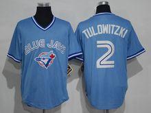 Mens Mitchell&ness Mlb Toronto Blue Jays #2 Troy Tulowitzki Light Blue Throwbacks Jersey