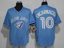 Mens Mitchell&ness Mlb Toronto Blue Jays #10 Edwin Encarnacion Light Blue Throwbacks Jersey
