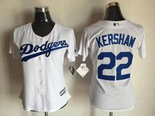 Women  Mlb Los Angeles Dodgers #22 Clayton Kershaw White Jersey