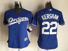 Women  Mlb Los Angeles Dodgers #22 Clayton Kershaw Blue Jersey