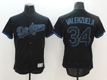 mens majestic los angeles dodgers #34 fernando valenzuela navy blue Flex Base jersey