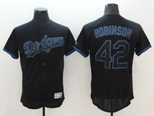 Mens Majestic Los Angeles Dodgers #42 Ackie Robinson Black Flex Base Jersey