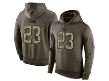 Mens Nfl Indianapolis Colts #23 Frank Gore Green Olive Salute To Service Hoodie