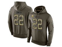 mens nfl minnesota vikings #22 harrison smith green olive salute to service Hoodie