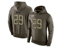 mens nfl kansas city chiefs #29 eric berry green olive salute to service Hoodie