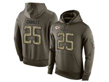 mens nfl kansas city chiefs #25 jamaal charles green olive salute to service Hoodie