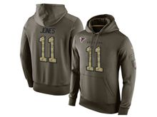 mens nfl atlanta falcons #11 julio jones green olive salute to service Hoodie