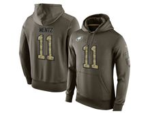 mens nfl philadelphia eagles #11 carson wentz green olive salute to service Hoodie