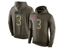 mens nfl tampa bay buccaneers #3 jameis winston green olive salute to service Hoodie