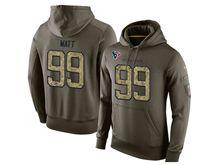 mens nfl Houston Texans #99 JJ Watt green olive salute to service hoodie
