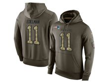 mens nfl new england patriots #11 julian edelman green olive salute to service Hoodie