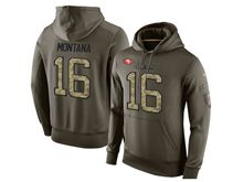 mens nfl san francisco 49ers #16 joe montana green olive salute to service Hoodie