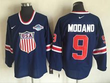 Mens Nhl Team Usa #9 Mike Modano Blue (2016 Olympics) Throwback Jersey