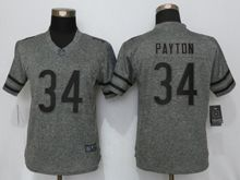Women   Chicago Bears #34 Walter Payton Gray Stitched Gridiron Limited Jersey