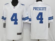 Mens   Dallas Cowboys #4 Dak Prescott White Limited Jersey