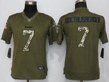 Women Nfl Pittsburgh Steelers #7 Ben Roethlisberger Green Salute To Service Limited Jersey