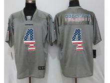 Mens Nfl   Dallas Cowboys #4 Dak Prescott Gray Usa Flag Fashion Elite Jersey