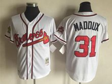Mens Mlb Atlanta Braves #31 Greg Maddux Cream White Throwbacks Jersey