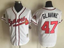 Mens Mlb Atlanta Braves #47 Tom Glavine Cream White Throwbacks Jersey