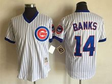 Mens Mlb Chicago Cubs #14 Ernie Banks White Stripe Throwbacks Jersey
