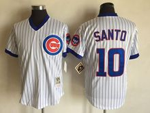 Mens Mlb Chicago Cubs #10 Ron Santo White Stripe Throwbacks Jersey