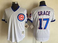 Mens Mlb Chicago Cubs #17 Mark Grace White Stripe Throwbacks Jersey