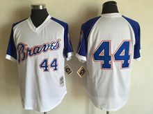 Mens Mlb Atlanta Braves #44 Hank Aaron White&blue Sleeve 1974 Throwbacks Jersey(no Name)