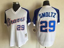 Mens Mlb Atlanta Braves #29 John Smoltz White&blue Sleeve 1974 Throwbacks Jersey