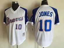 Mens Mlb Atlanta Braves #10 Chipper Jones White&blue Sleeve 1974 Throwbacks Jersey