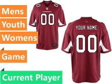Mens Women Youth Nfl Arizona Cardinals Red Game Current Player Jersey