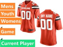 Mens Women Youth Nfl Cleveland Browns Orange Game Current Player Jersey