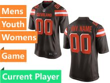 Mens Women Youth Nfl Cleveland Browns Brown Game Current Player Jersey