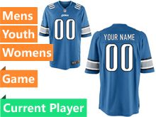 Mens Women Youth Nfl Detroit Lions Blue Game Current Player Jersey