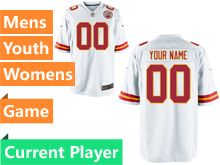 Mens Women Youth Nfl Kansas City Chiefs White Game Current Player Jersey