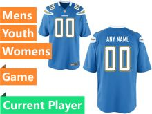 Mens Women Youth Nfl Los Angeles Chargers Light Blue Game Current Player Jersey