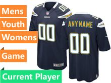 Mens Women Youth Nfl Los Angeles Chargers Navy Blue Game Current Player Jersey