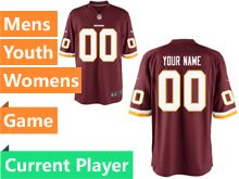 Mens Women Youth Nfl Washington Redskins Red Game Current Player Jersey