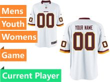Mens Women Youth Nfl Washington Redskins White Game Current Player Jersey