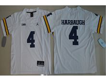 Youth Ncaa Nfl Jordan Brand Michigan Wolverines #4 Jim Harbaugh White Limited Jersey