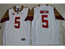 Mens Ncaa Nfl Florida State Seminoles #5 Jameis Winston White Limited Jersey
