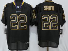 Mens Nfl Minnesota Vikings #22 Harrison Smith Black Lights Out Elite Jersey