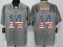 Mens Nfl Minnesota Vikings #14 Stefon Diggs Gray Usa Flag Fashion Elite Jersey