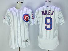 mens majestic chicago cubs #9 javier baez white stripe Flex Base jersey