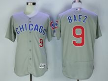 mens majestic chicago cubs #9 javier baez gray Flex Base jersey