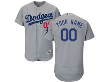 Mens Majestic Los Angeles Dodgers (custom Made) Gray Flex Base Jersey